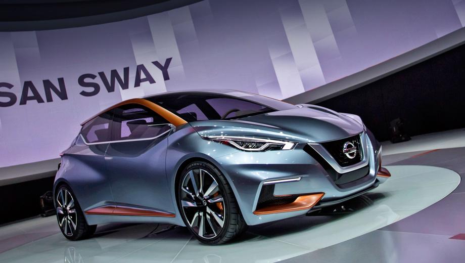 Nissan sway. Фирменный штрих всех последних Ниссанов — V-образная решётка радиатора. Ещё одна особенность нового языка дизайна — «взлетающая» крыша с панорамным стеклом.