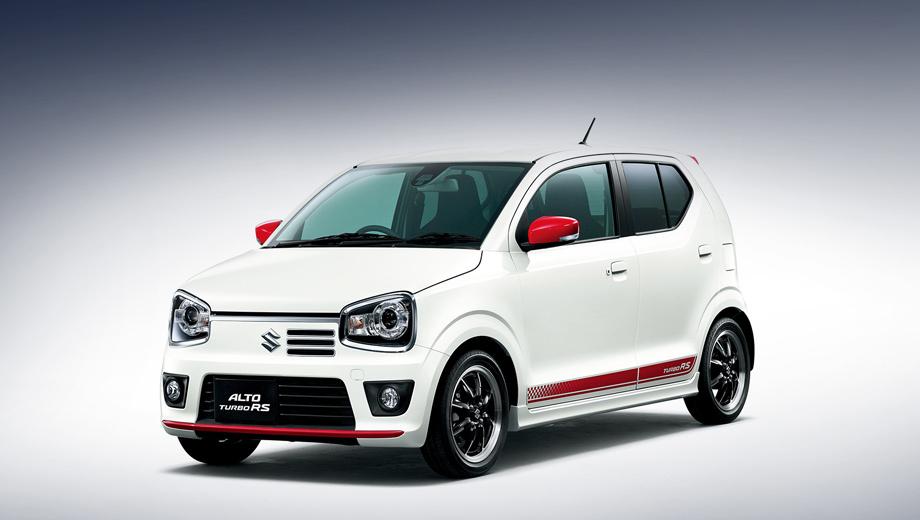 Suzuki alto,Suzuki alto rs. Длина — 3395 мм, ширина и высота — по 1475. Колёсная база — 2460 мм. Обувка — 15-дюймовые шины Bridgestone Potenza RE050A.