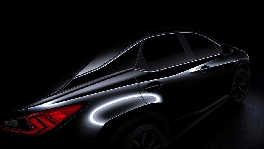 Lexus rx. Похоже, заднее стекло будет наклонено сильнее, крыша будет плавно спадать к корме, появятся ярко выраженные колёсные арки.