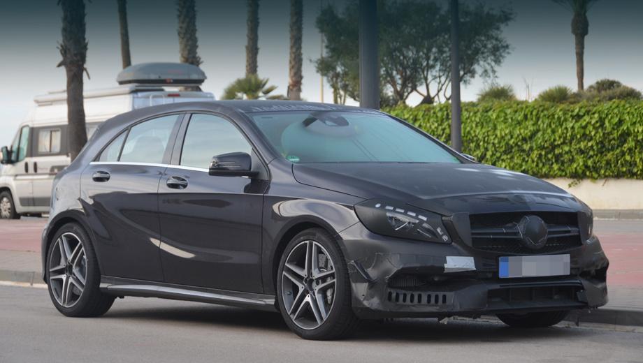 Mercedes a amg,Mercedes a. Нос станет ещё более броским и агрессивным, чем у дореформенной модели. По углам закамуфлированного бампера просматриваются небольшие крылышки, а сплиттер, похоже, стал шире и ниже.