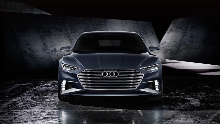Audi a8,Audi a9,Audi prologue. Можно не сомневаться, что анфас новинка будет напоминать предыдущие два Пролога, разве что бампер дизайнеры слегка подкорректируют. Главная интрига — оформление кормы.