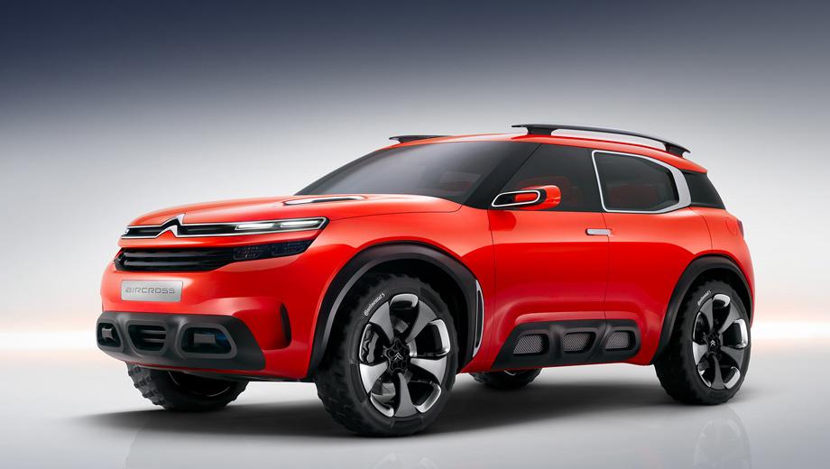 Citroen aircross. Серийная версия концептуального паркетника Aircross могла бы занять место на ступеньку выше кроссовера Cactus в модельном ряду Ситроена.