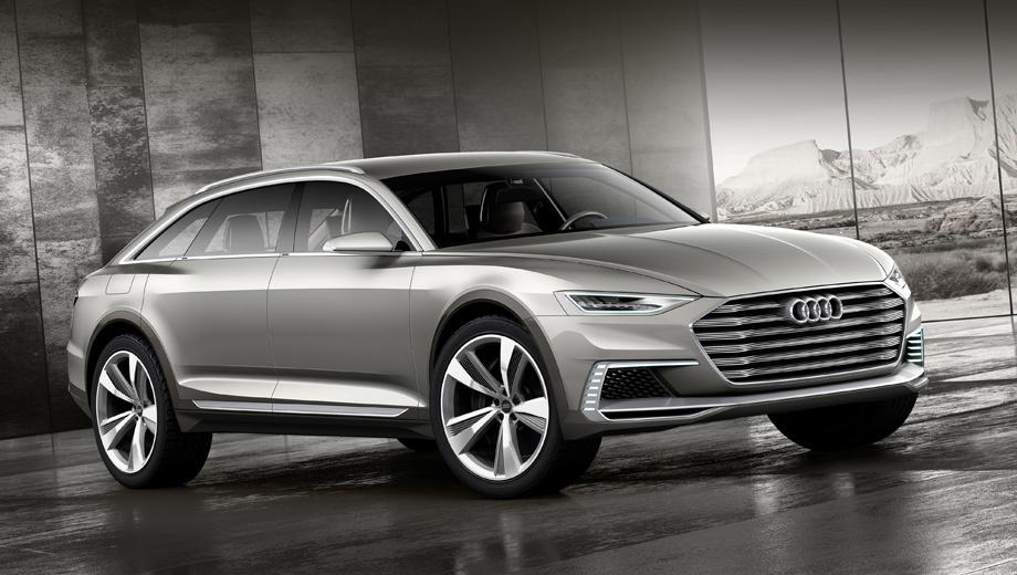 Audi prologue allroad,Audi concept,Audi a6,Audi a6 e-tron,Audi q7,Audi q7 e-tron. У вседорожного Пролога не только больше клиренс, но и новые бампер, 22-дюймовые колёсные диски. Появились рейлинги. По сравнению с предыдущим концептом по имени prologue Avant новинка выше в холке на 77 мм. Главное скрыто внутри — это изменённая силовая установка.