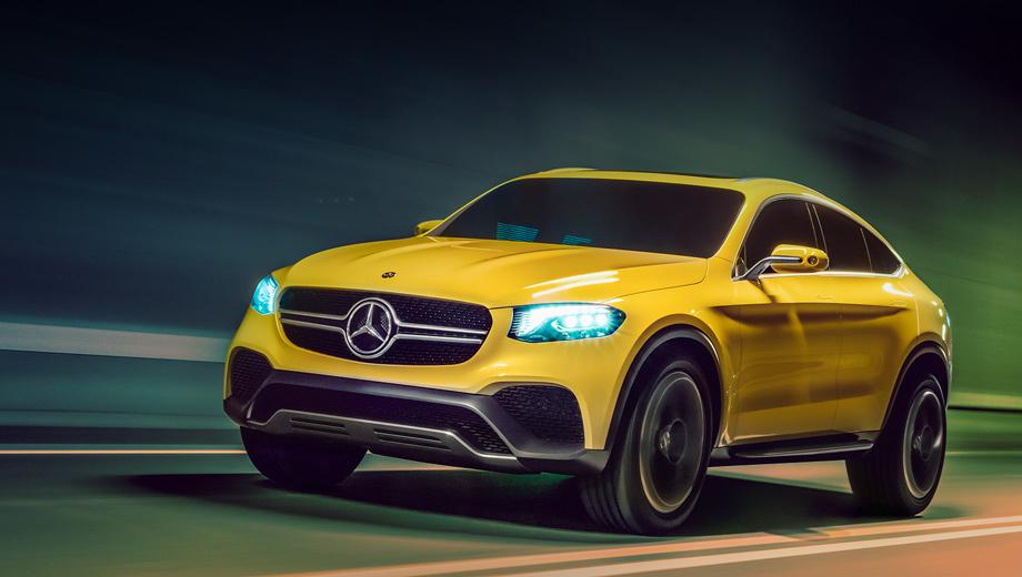 Mercedes glc,Mercedes glc coupe,Mercedes concept. Для шоу-кара немцы выбрали ярко-жёлтый окрас кузова. Надо отметить, он к лицу купеобразному паркетнику.