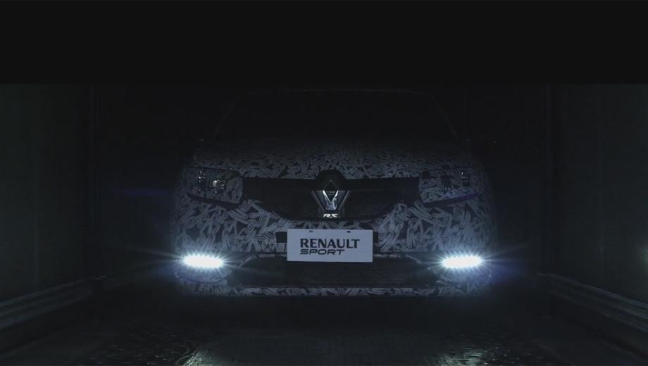 Renault sandero,Renault sandero rs,Renault sport. На тизере можно приметить перекроенный передний бампер со светодиодными дневными ходовыми огнями.