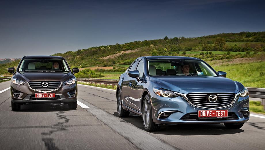 Mazda 6,Mazda cx-5. Они уже в продаже. С новыми бамперами, решётками радиаторов, диодными фарами и противотуманками, на литых дисках с чернёными вставками. Ходовые огни CX-5 выключаются в парковочном режиме «автомата» — отличное решение.