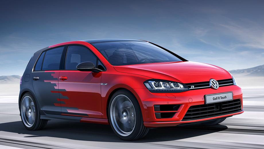 Volkswagen golf,Volkswagen golf r,Volkswagen golf r touch. Внешне концепт R Touch мало отличим от серийного Гольфа. Цветовая схема для окраски шоу-кара — та же, что выбрана французами для Peugeot 308 R.