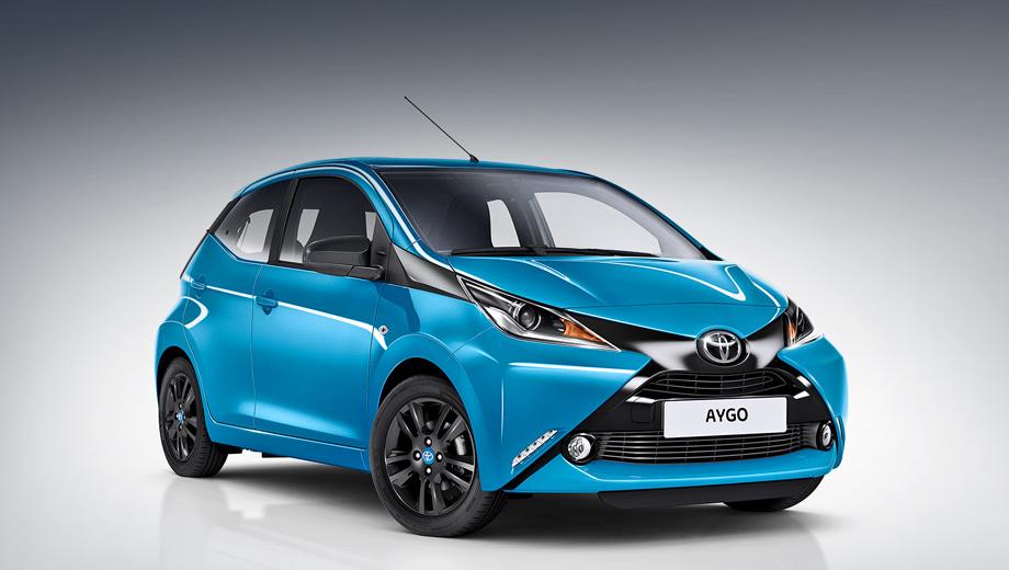 Toyota aygo. Опционально в чёрный цвет можно окрасить и крышу. Цены на новинку пока не называются.