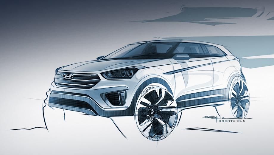 Hyundai ix25,Hyundai creta. На рынок кроссовер Hyundai Creta выйдет во втором полугодии. Поначалу он будет предлагаться в Индии, а позже появится на других рынках.