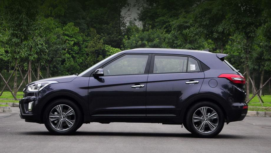 Hyundai ix25,Hyundai creta. По своей длине (4,27 м) новинка попадает точно между существующими субкомпактными и компактными кроссоверами, но, учитывая присутствие у нас ix35, Creta будет позиционироваться как паркетник класса B.