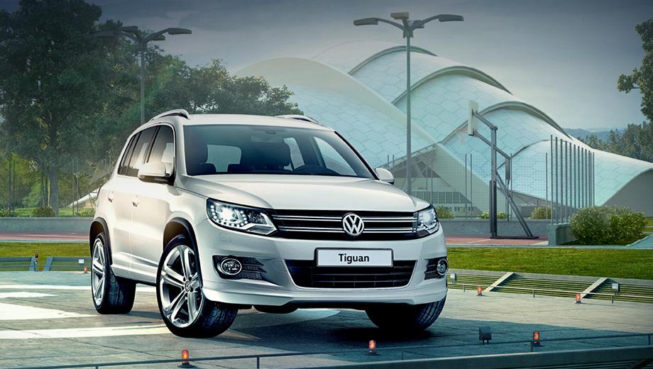 Volkswagen tiguan. Автомобиль будет доступен в пяти цветах: белом Pure, синем Night Blue, сером Reflex, чёрном Deep и коричневом Toffee.