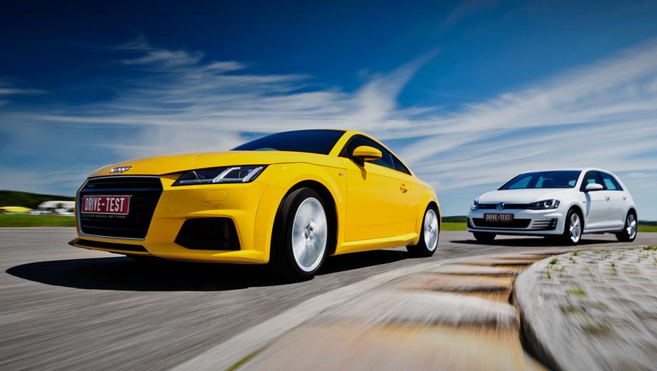 Audi tt,Volkswagen golf gti. Цены на Audi TT стартуют с 2 076 000 рублей (доплата за S tronic ― 70 тысяч). Полноприводные версии стоят от 2 230 000. Прайс-лист на переднеприводный Golf GTI начинается с 1 702 000 рублей (с DSG ― на 106 тысяч дороже).
