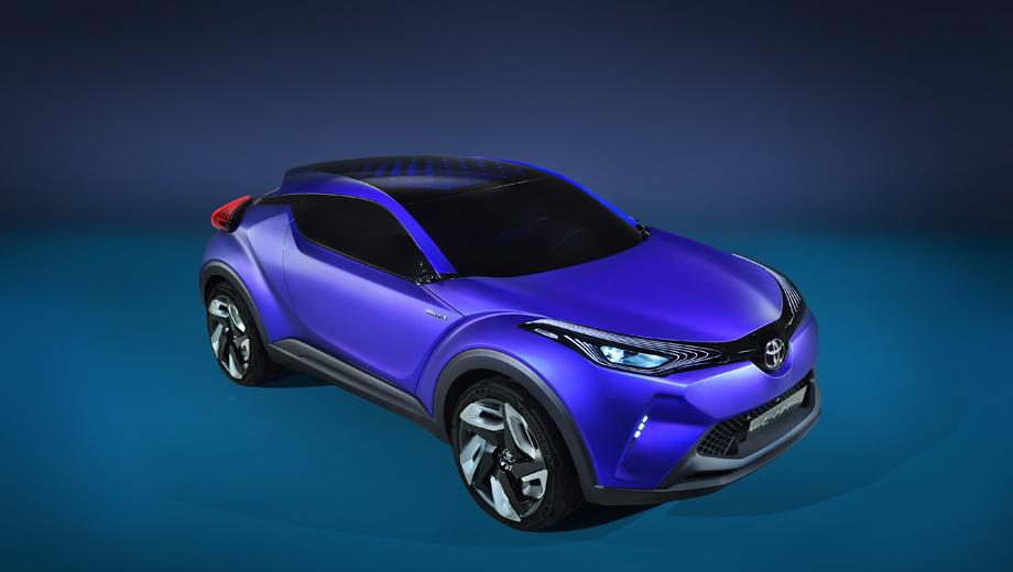 Toyota auris cross. Облик новинки будет подражать концепту Toyota C-HR, показанному прошлой осенью, — конечно, с поправкой на число дверей и не столь вычурную оптику.