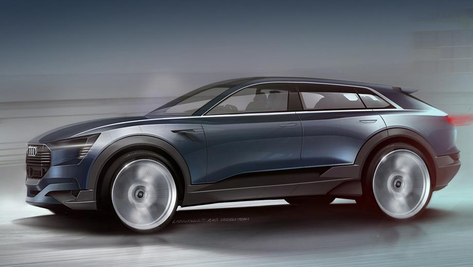 Audi e-tron quattro concept,Audi concept. В длину концептуальный паркетник насчитывает 4,6 м. Серийный Audi Q6 займёт нишу между кроссоверами Q5 и Q7.