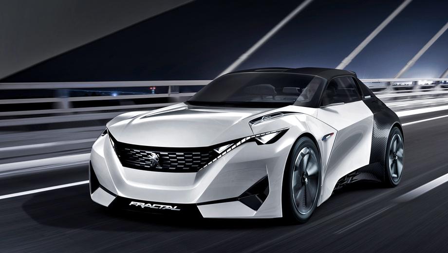 Peugeot concept,Peugeot fractal. В длину концептуальный родстер Fractal насчитывает 3,81 м, а в ширину — 1,77 м.