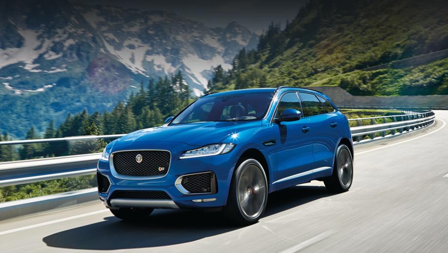 Jaguar f-pace. Свободные от декоративных планок воздухозаборники — отличительная черта модели F-Pace S с топовым 300-сильным дизелем V6. Всего будет шесть исполнений: Pure, Prestige, Portfolio, R-Sport, S и «приветственная» First Edition, которую будут выпускать один год.