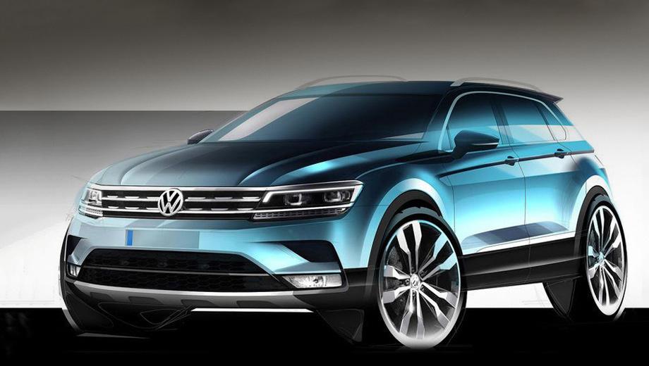 Volkswagen tiguan. Как и предполагалось, во многом «второй» Tiguan стилистически схож с концептом CrossBlue Coupe — тот был показан ещё два года назад на Шанхайском автосалоне.