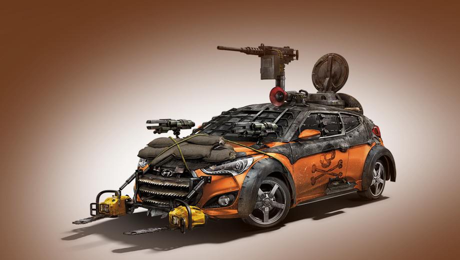 Hyundai veloster. В 2013 году для фанатов комикса и сериала «Ходячие мертвецы» ателье Galpin построило машину для выживания после зомби-апокалипсиса — Veloster Zombie Survival. Уже тогда стоял вопрос о выживании самого Велостера.