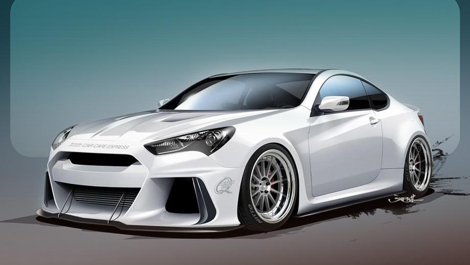 Hyundai genesis coupe. Купе Hyundai Solus Genesis отличается от стандартной модели развитым аэродинамическим обвесом кузова. Прототип обули в кованые колёсные диски с покрышками Nitto NT05.
