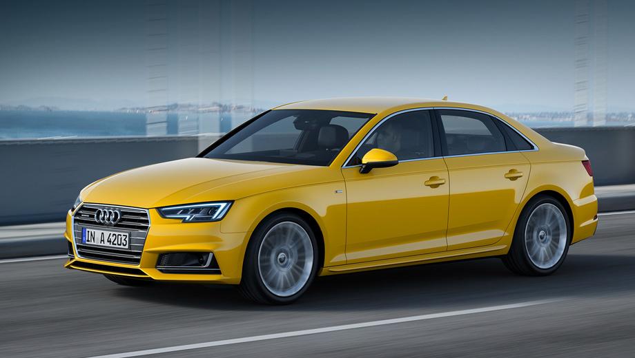 Audi a4. Пятое поколение модели Audi A4 не сильно изменилось в размерах. Колёсная база выросла на 12 мм (до 2820), длина — на 25 мм (4726), ширина теперь 1842 (+16 мм), а высота осталась прежней (1427 мм). Машина легче предшественницы — разница до 120 кг (зависит от двигателя).