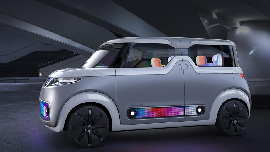 Nissan concept,Nissan teatro for dayz. Технически концепт базируется на кей-каре Dayz, но у него оригинальный облик, а кроме того, он переведён с ДВС на электротягу.