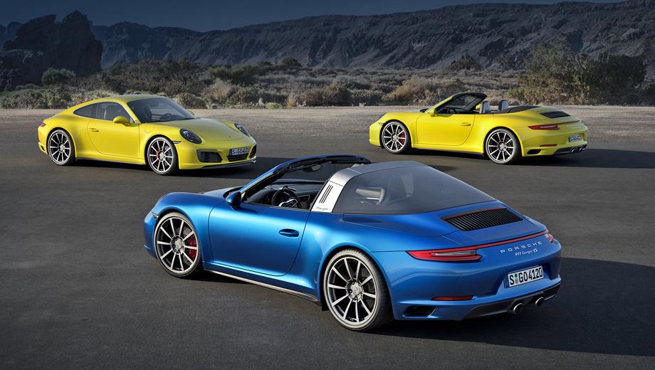 Porsche 911,Porsche 911 cabrio,Porsche 911 targa. Как и другие «девятьсот одиннадцатые», полноприводные Porsche оснащены оппозитной «битурбошестёркой» 3.0, которая тут изначально выдаёт те же 370 л.с., 450 Н•м, а на машинах с литерой S — 420 л.с., 500 Н•м.