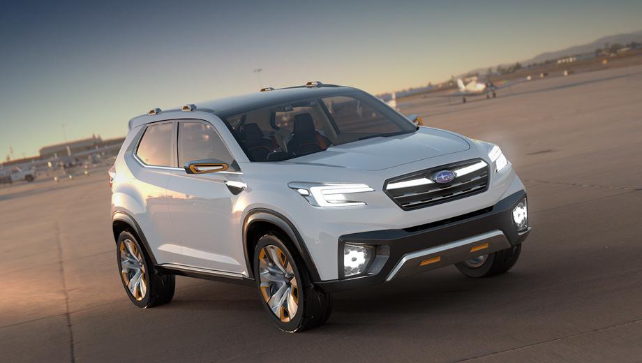 Subaru viziv,Subaru concept,Subaru impreza. Шоу-кар Viziv Future не такой экстравагантный, как предшественники. У тех все три двери открывались вверх, а у этого есть задние, распахивающиеся против хода. Внешне машина выглядит готовой к серийному производству.