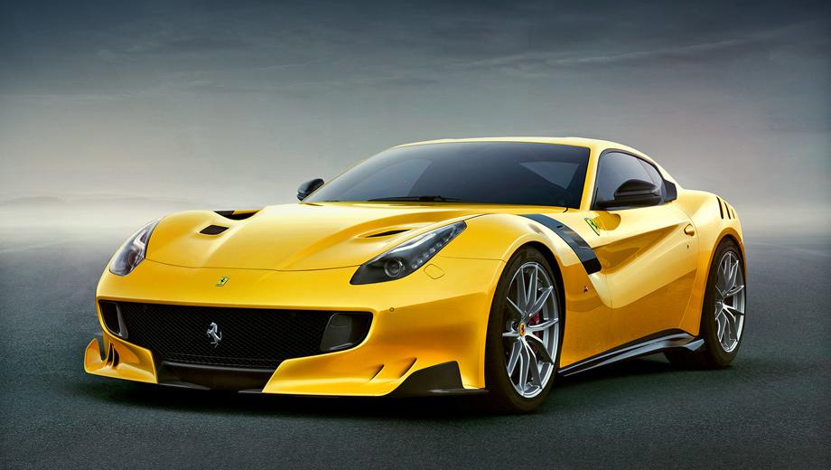 Ferrari f12berlinetta,Ferrari f12,Ferrari f12tdf. Машина получила особый аэродинамический обвес, включающий в себя воздухозаборники в капоте, увеличенный на 60 мм задний спойлер, другие задний диффузор и стекло. На скорости 200 км/ч прижимная сила возрастает на 107 кг — до 230 кг.