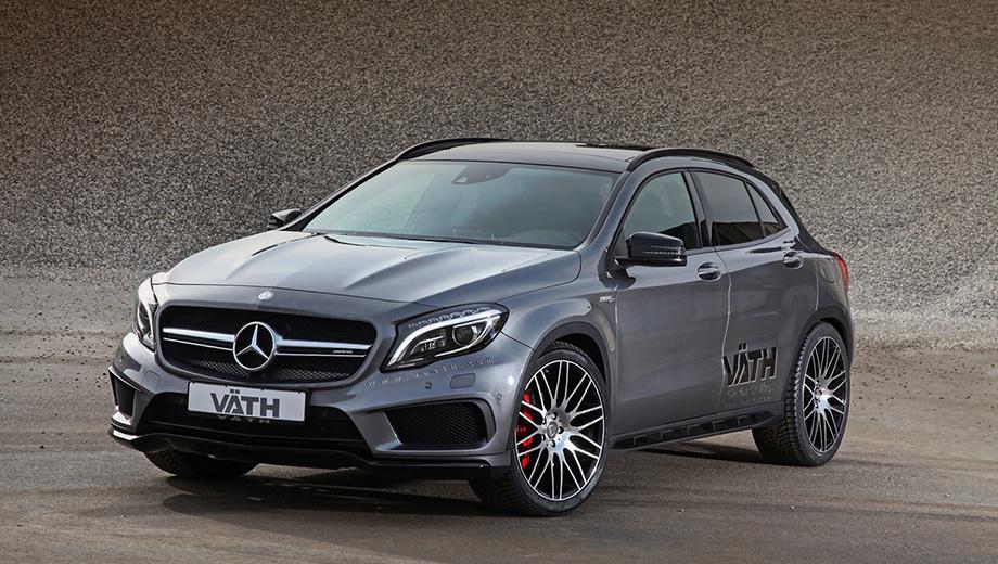 Mercedes gla amg. В компании Vath Automobiltechnik для вашего GLA 45 AMG предложат две программы. Начальная V45 подразумевает 395 л.с. и 480 Н•м, а более продвинутая ― 446 и 539 соответственно.