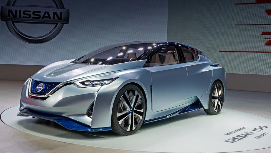 Nissan ids,Nissan concept,Nissan leaf. Шоу-кар IDS — шаг в претворении в жизнь стратегии, озвученной Карлосом Гоном ещё в 2013 году. По его словам, к 2020-му системы автономного управления должны появиться на нескольких серийных моделях компании Nissan.
