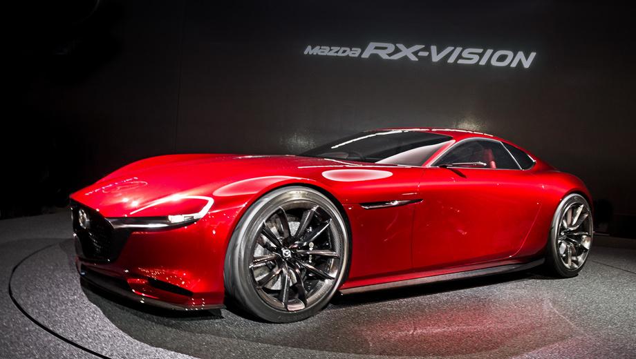 Mazda rx-vision,Mazda concept. Вероятно, у грядущей серийной машины на базе концепта Mazda RX-Vision двигатель будет смещён в пределы колёсной базы, как это было у моделей RX-7 и RX-8.