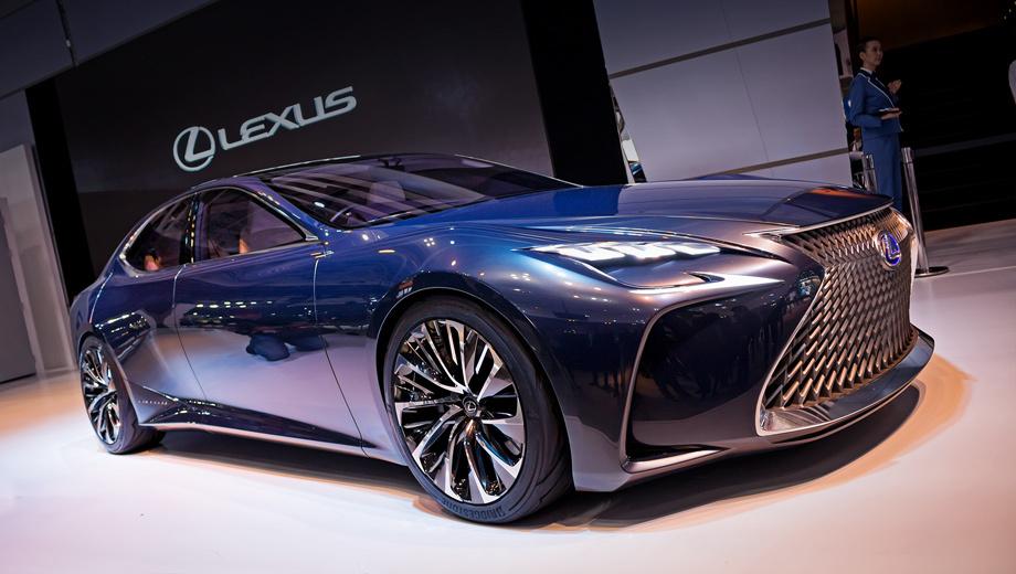 Lexus lf-fc,Lexus concept. Фирменное «веретено» решётки радиатора на месте, но сама сетка в ней весьма необычна. Дневные ходовые огни в форме буквы L на этот раз подчёркивают очень узкие фары с изломанной нижней кромкой.
