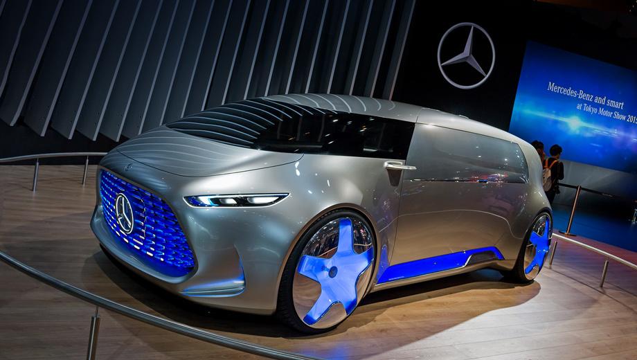 Mercedes vision tokyo,Mercedes concept. Боковые окна покрыты плёнкой в цвет кузова Alubeam, с мириадами мелких отверстий, позволяющих пассажирам наблюдать окружающую обстановку, оставаясь незаметными.