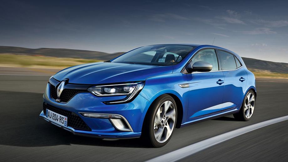 Renault megane. Модификации с шильдиками GT на момент выхода модели будут топовыми в линейке. Версия с бензиновым мотором под капотом разгоняется с места до 100 км/ч за 7,1 с.