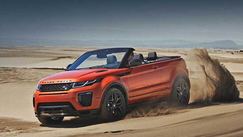 Land rover range rover evoque,Land rover range rover evoque cabrio. Четырёхместный кабриолет Evoque поступит в продажу весной 2016 года. На родине его начальная цена составит 47 500 фунтов, что на 5200 больше, чем за закрытую версию в аналогичной комплектации.