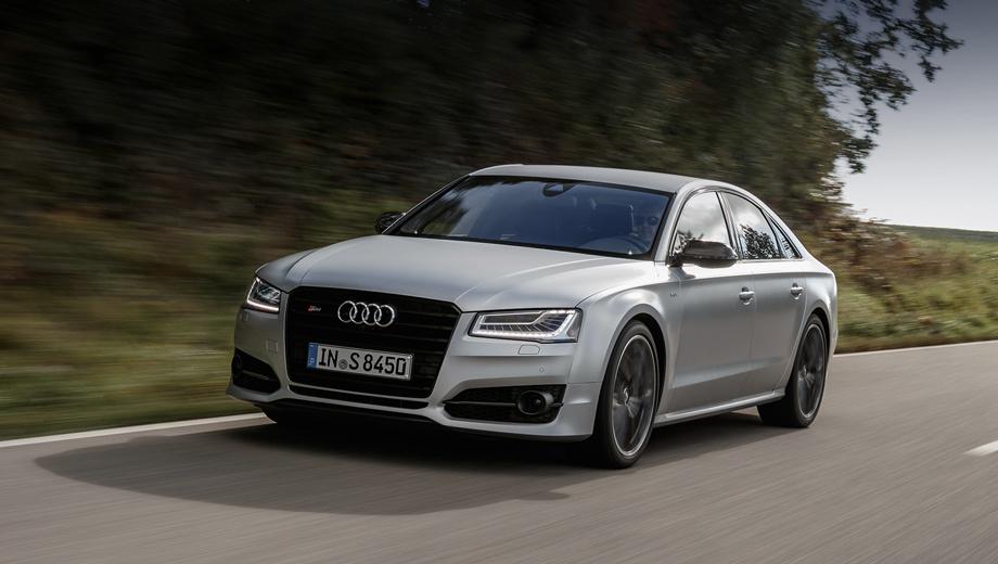 Audi s8. От стандартного седана Audi S8 мощная версия отличается деталями из углепластика, оригинальными колёсными дисками, тонированными фонарями.