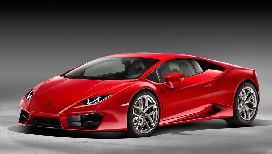 Lamborghini huracan. Внешне отличить заднеприводную машину можно по передним воздухозаборникам.