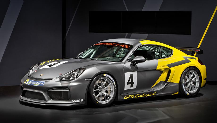 Porsche cayman,Porsche cayman gt4,Porsche cayman gt4 cllubsport. Болид Porsche Cayman GT4 Clubsport шире дорожного «джи-ти-четвёртого», но длина и высота у них одинаковые. Снаряжённая масса ― 1300 кг против 1415 соответственно. Топливный бак увеличен с 54 л до 90.