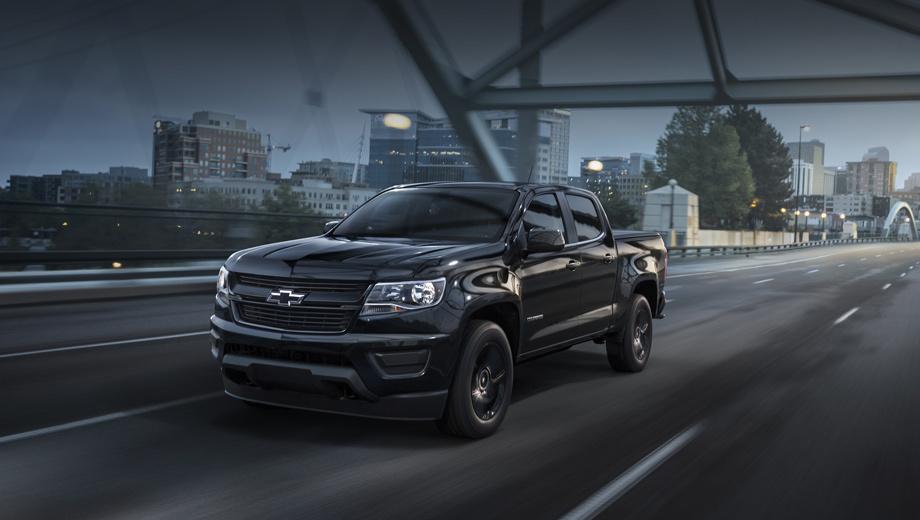 Chevrolet colorado,Chevrolet colorado fuel cell. Известно, что у водородного Colorado будет заметно изменённый нос, а в целом автомобиль должен быть похож на нынешний (на фото — появившееся в этом году исполнение Midnight).
