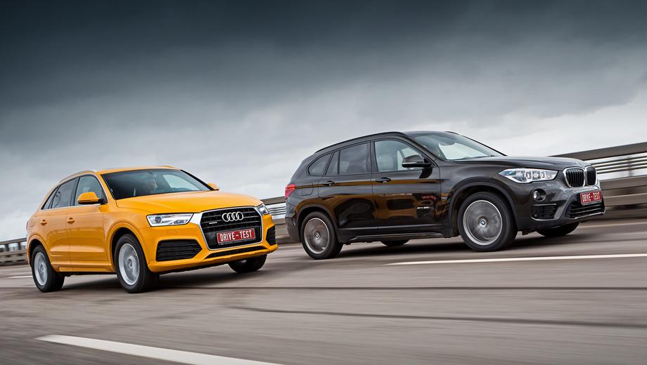 Audi q3,Bmw x1. Audi без учёта опций стоит 1 690 000–2 290 000 рублей, а BMW — 1 990 000–2 550 000 рублей. Базовый Q3 — 150-сильный, переднеприводный и с «механикой». Начальный X1 тоже переднеприводный, но оснащён двигателем мощностью 192 л.с. и «автоматом».
