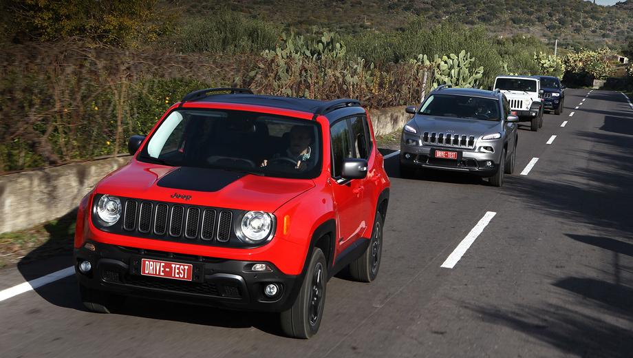 Jeep renegade,Jeep grand cherokee,Jeep cherokee,Jeep wrangler. Не ту модель назвали ренегатом? Jeep Renegade как раз сохранил фамильные черты дедушки Виллиса — в отличие от Cherokee, который выбивается из общего ряда и «узкоглазостью», и количеством отзывных кампаний. Или нет?
