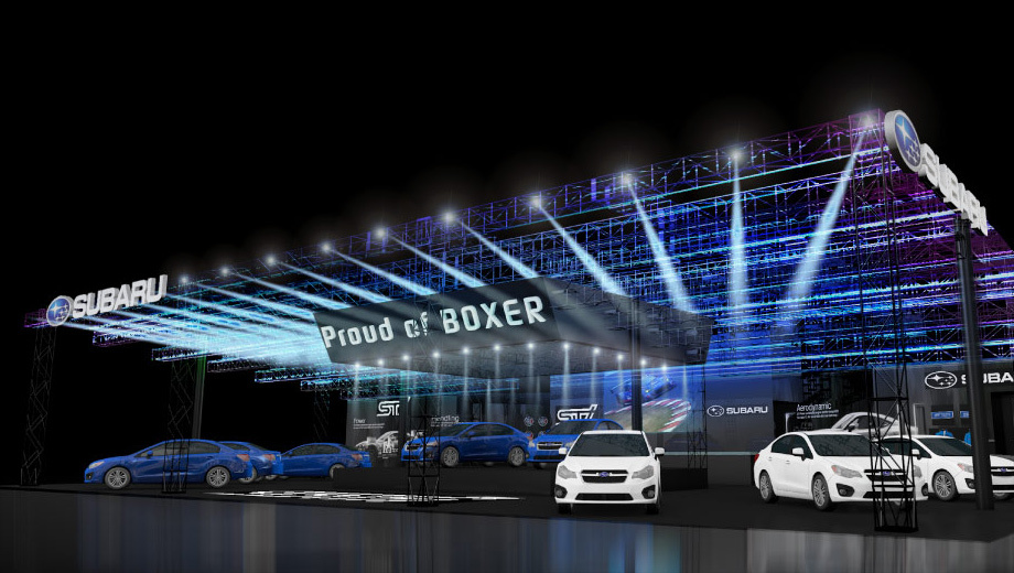 Subaru xv crosstrek,Subaru levorg. Выставочный стенд Subaru в 2016-м снова прославляет линейку двигателей Boxer, но теперь речь идёт о гордости. Кстати, показ на Токийском мотор-шоу именно трёх концептов — уже традиция: так было в прошлом и позапрошлом году.