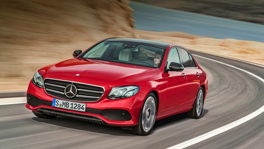 Mercedes e. В базовом варианте мерседесовская звезда — на капоте, в вариантах Avantgarde и AMG Line — на решётке радиатора.