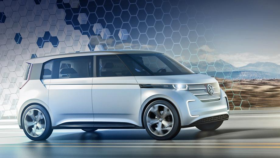 Volkswagen budd-e,Volkswagen concept. У вэна нет дверных ручек и наружных зеркал: их заменила электроника. Светодиоды находятся не только в фарах и С-образных модулях в бампере, но и в узкой полоске по всему периметру кузова. В VW Group считают, что Microbus XXI века должен излучать много света.