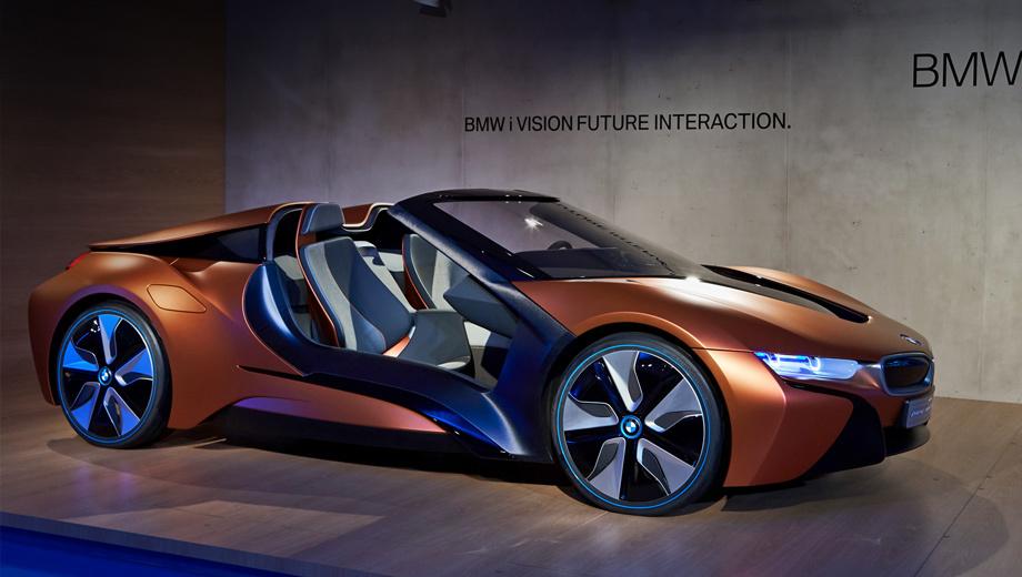 Bmw i8,Bmw i vision future interaction,Bmw concept. Концепт BMW i Vision Future Interaction — родстер. Поговаривают, что скоро открытая версия появится и у серийной двухдверки BMW i8.