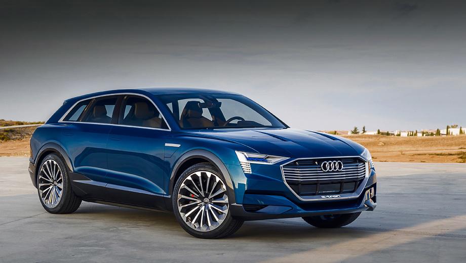 Audi q6. Если внешность шоу-кара (на фото) по пути к конвейеру немного изменится, то техническую основу Audi обещает сохранить. У серийного кроссовера тоже будут три электромотора и аккумулятор повышенной ёмкости, позволяющие без подзарядки пробегать более 500 км.