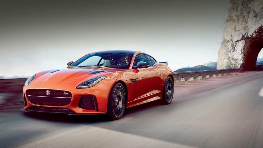 Jaguar f-type,Jaguar f-type svr. Узнать модификацию SVR проще всего по новому бамперу с большими воздухозаборниками и сплиттером. «Зажигалка» на пять миллиметров длиннее всех остальных «эф-тайпов» (4475 мм), у неё самый большой клиренс в семействе — 107 мм (просвет у собратьев — 100–104 мм). Прочие размеры совпадают.