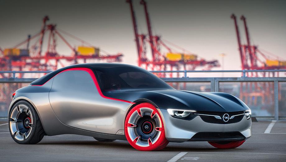 Opel gt concept,Opel concept. Автомобиль исполнен в скульптурном дизайне и призван напоминать не только об исторической GT-машине, но и о концепте Opel Monza образца 2013 года. Красные колёса — привет мотоциклу Opel Motoclub 500. Фары — матричные светодиодные IntelliLux.