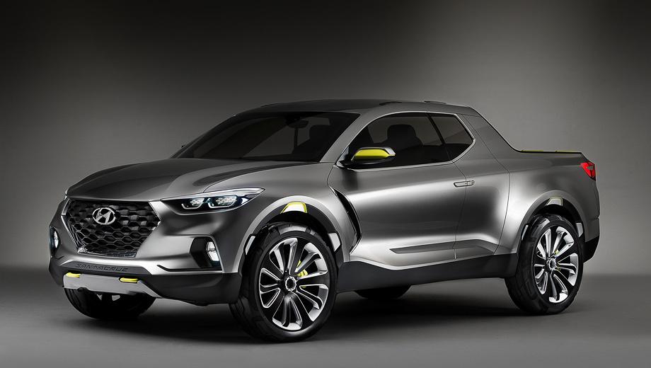Hyundai santa cruz,Hyundai tucson,Kia sportage. Под капотом полноприводного концепта стоит двухлитровый турбодизель (193 л.с., 407 Н•м). Если подобный мотор будет у серийного пикапа, эта модель станет первым в США автомобилем марки Hyundai с двигателем на тяжёлом топливе.