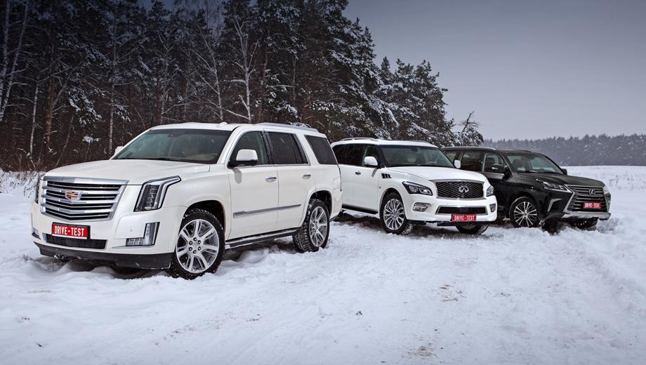 Cadillac escalade,Infiniti qx80,Lexus lx. Топовый Escalade оценён в 5,8 млн рублей, Infiniti QX80 — в 5,1 млн (скидки на прошлогодние машины до 700 тысяч!). А цены на Lexus LX от пяти миллионов только начинаются: наш восьмиместный бензиновый вариант обойдётся в 6,4 млн рублей минимум.